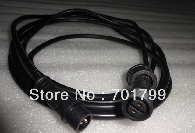 BLACK 1.5m(5feet)2 core waterproof extension cable,one end with male,the other end with female,male connector's diameter:13.5mm