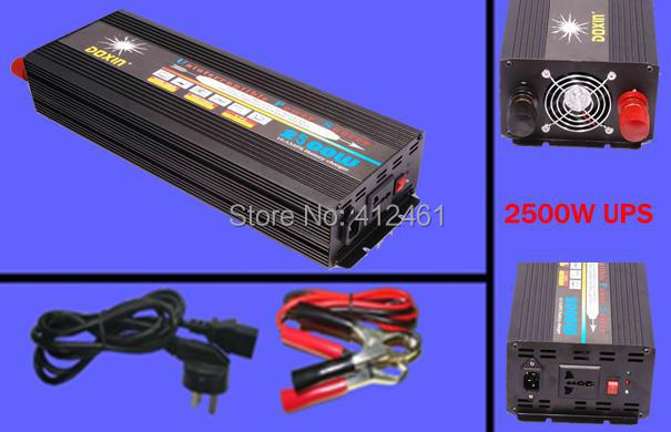 DHL Free shipping factory price dc 24v to ac 220v 2500w/5000w peak frequency inverter with charger( black )(China (Mainland))