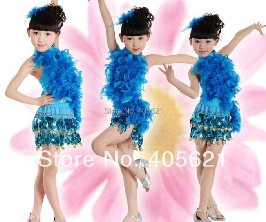 5set/lot Girls Sequins Feathers Cheerleading Dress Children's Dancewear Performance Modern Ballet Latin Dance Stage Costume