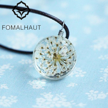 Buy Hot FOMALHAUT Crystal glass Ball White lace flower Necklace Long Strip Leather Chain Pendant Necklaces Women 2015 Jewelry CX-123 for $1.19 in AliExpress store