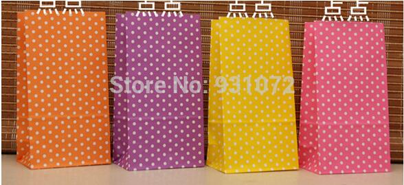 round dot printing paper bags Gift Bags, Polka dot kraft paper bags Party, Lolly,Favour, Wedding, Packaging 1000pcs/lot 18*9*6cm(China (Mainland))