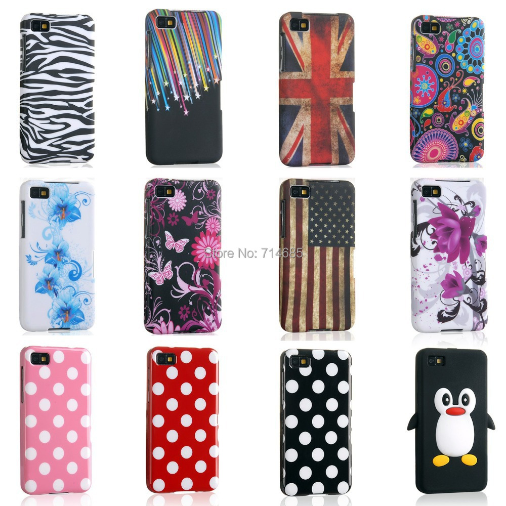 Fashion TPU Silicon Phone Case for BlackBerry Z10 Cover Skin BlackBerryZ10 Polka Dots S Line Butterfly Flower Flag(China (Mainland))