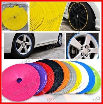 8 Meter Wheel Rim Tire Protection Sticker , Car Wheel Hub Tire Sticker Decorative Styling Strip FREE SHIPPING(China (Mainland))