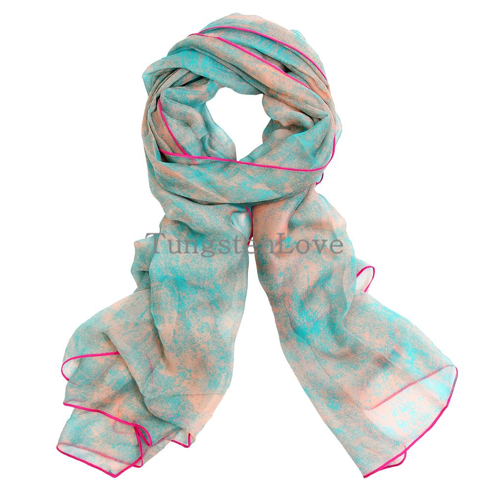 Elegant Womens Luke Blue Ink Style Soft Imitated Silk Scarves Wrap Scarf Pashmina For Ladies Christmas Gift(China (Mainland))