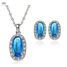 Hot Sale ! Platinum Plated Jewlery Sets for Women with High Quality Blue AAA Zircon 30(China (Mainland))