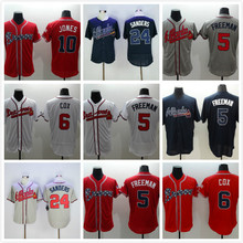 6 Bobby Cox 10 Chipper Jones 24 Deion Sanders Jersey white gray red blue green(China (Mainland))
