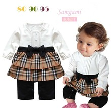 High Quality 2014 Spring Autumn New Children Girls Plaid Long sleeve rompers baby girl Tiered romper free shipping 3pcs/lot(China (Mainland))