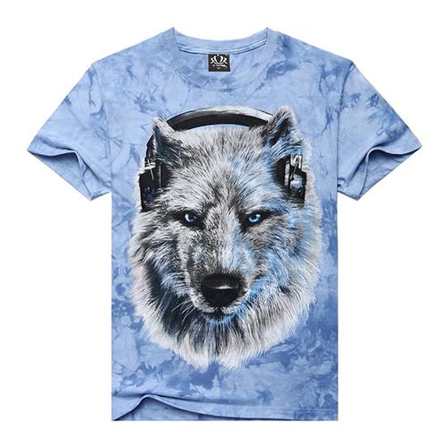3D T Shirt Men Fashion Brand Wolf Printing O-neck Tshirt Men's Unique Printed T Shirt Clothing Blue Tops Tee For Mens S-XXL(China (Mainland))