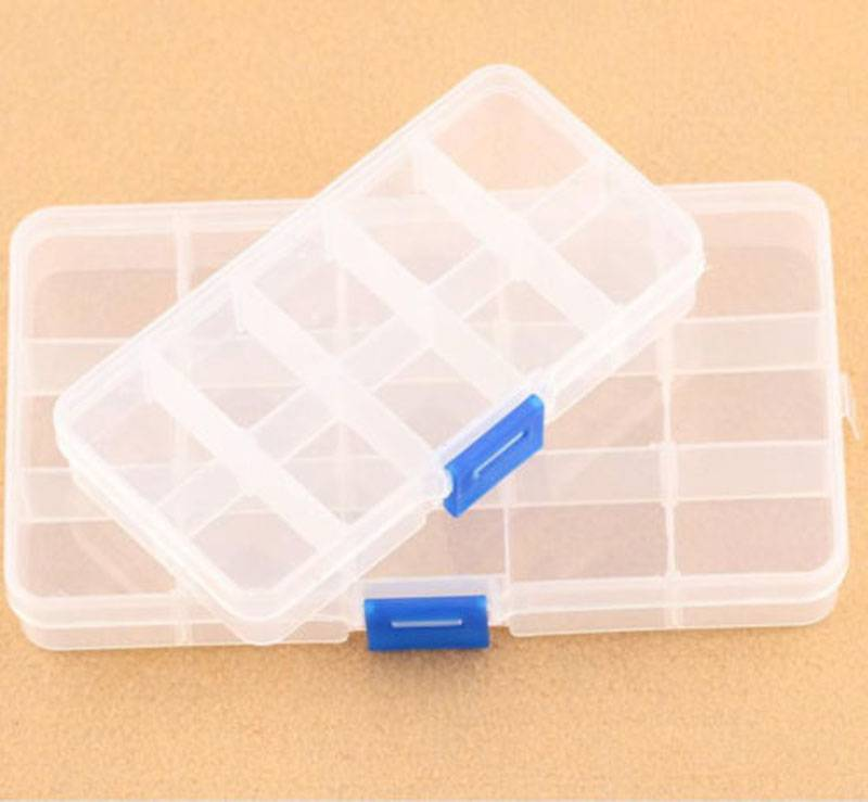Clear Plastic 10 Slots Jewelry Beads Storage Box Case Craft Organi