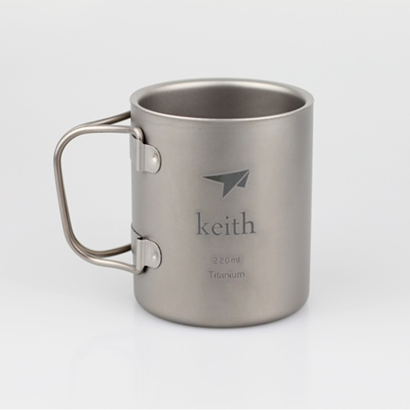 Keith 220ml Titanium Cup Mug Double-wall Vacuum Thermal Insulation Water Cup Outdoor Camping Traving Ultralight 83g KS813(China (Mainland))