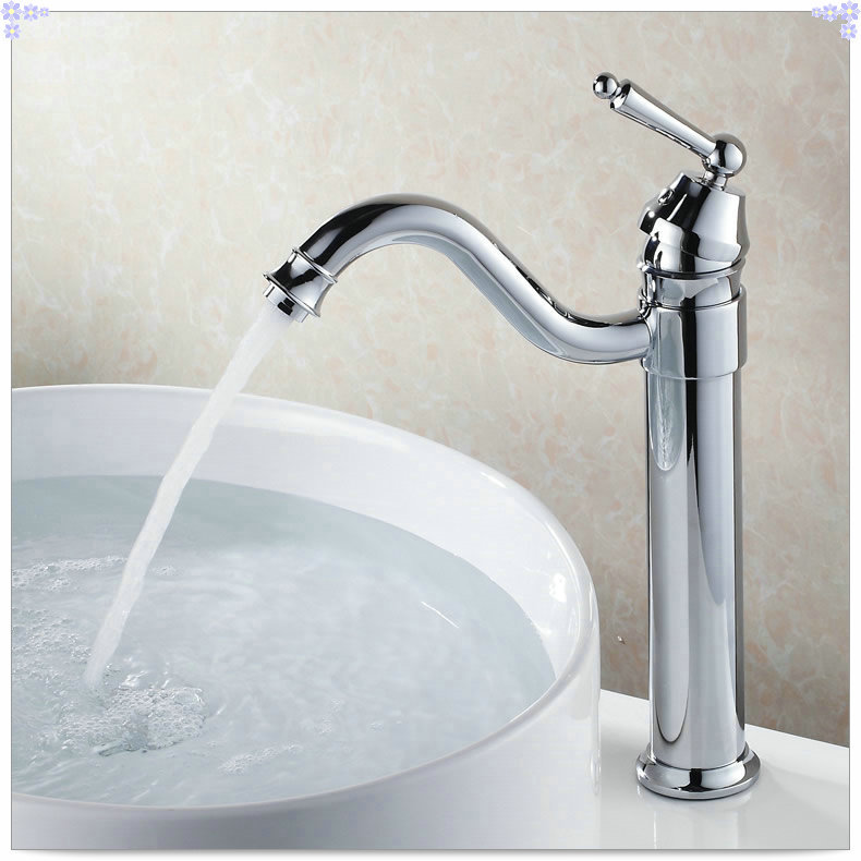 Long Bathroom Sink With Two Faucets : Bathroom-sink-basin-mixer-tap-chrome-polished-long-spray-spout-brass ...