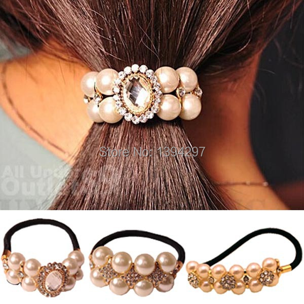 2015 Women Girl pure pearl and Austria Rhinestone rubber band Korean hair accessories Rope Ponytail Holder Korean style Z(China (Mainland))