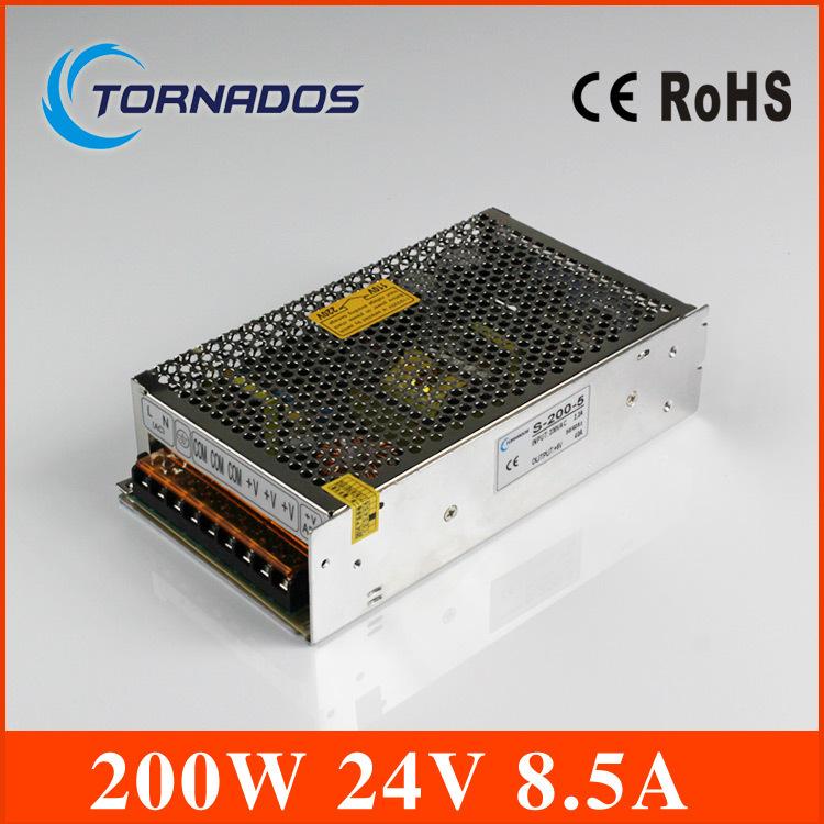 CE approved safe standards nice quality power supply 24v 200w 8 3A single output metal case