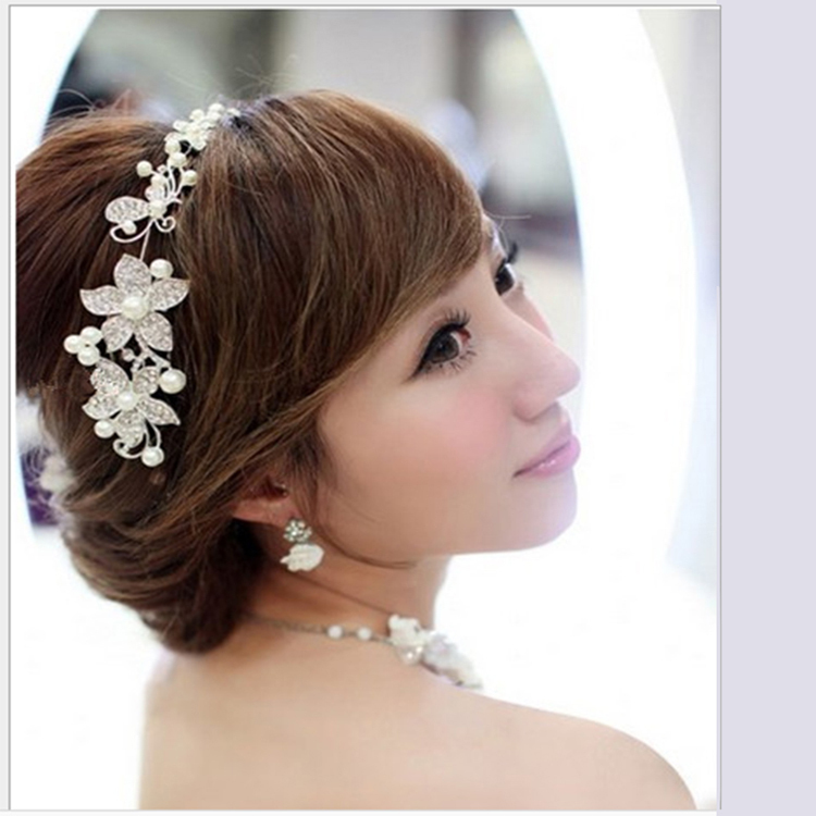 2015 New fashion Retro Crystal Faux Pearl Flower wedding decoration Party Bridal Headband Hairpin Hair Band Tiara  free shipping(China (Mainland))