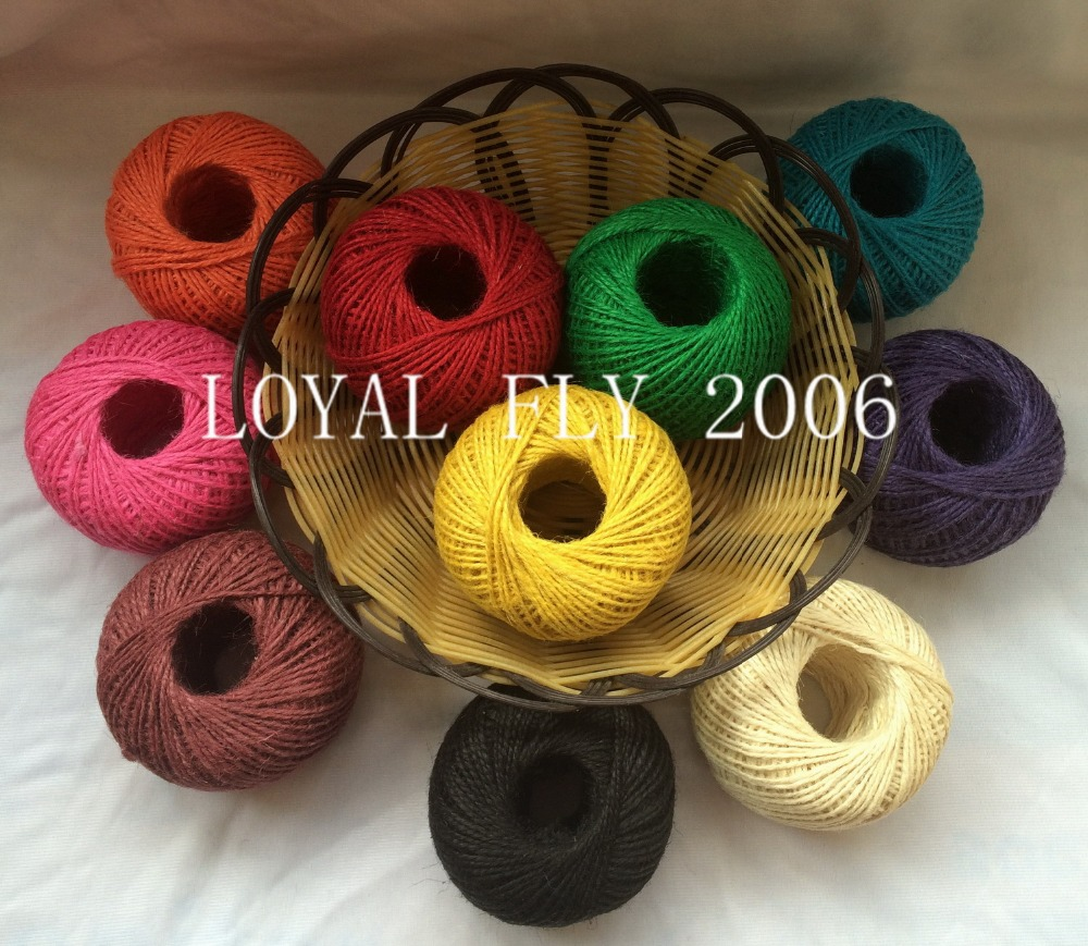 10pcs/lot colored jute twine(1.5mm) 100m/ball,colorful jute rope, jute string,dyed jute cords(China (Mainland))