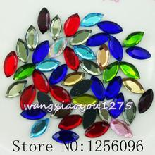 100pcs/bag 3.5mmX7mm Mix color horse eye shape glass lot face Flat Back Crystal Rhinestone hot fix rhinestone motif designs(China (Mainland))