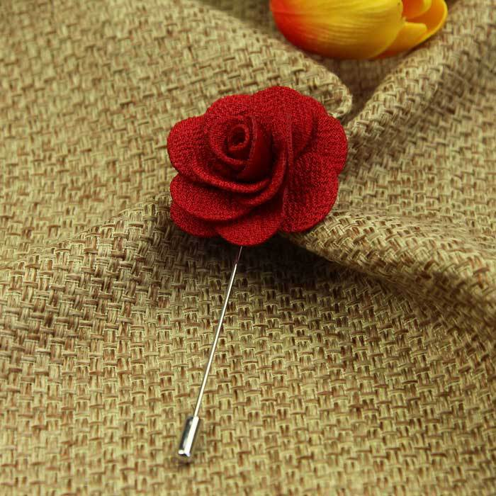 Hot Lapel Flower Camellia Handmade Boutonniere Stick Brooch Pin Men's Accessories in 16 Colors(China (Mainland))