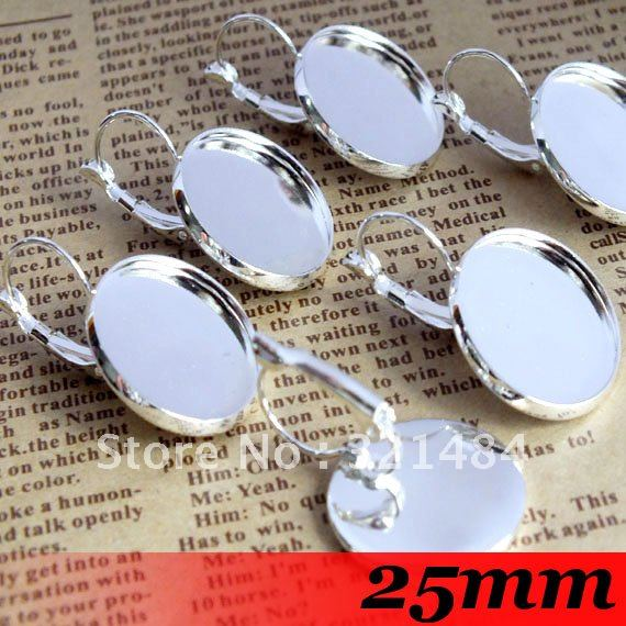 Free ship! Silver Plated 200piece 25mm Round Cabochon Setting Stud Leverback Hook Stud Earing blanks and base trays bezel