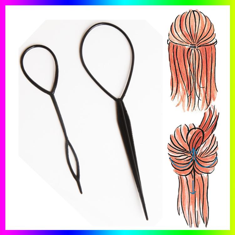 Hot Sale Chic Magic Topsy Tail Hair Braid Ponytail Styling Maker Clip Tool Black 2pcs Drop Shipping Headwear-001933(China (Mainland))