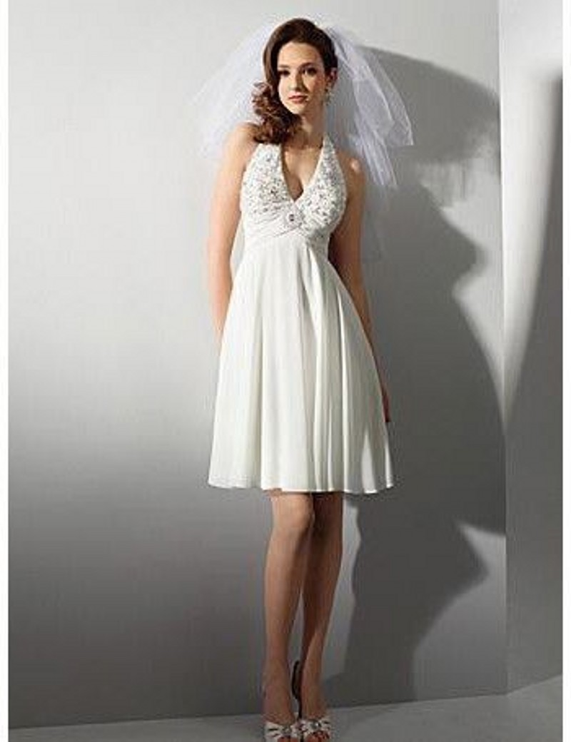 Free shipping halter lace short chiffon beach wedding for Wedding dresses casual beach