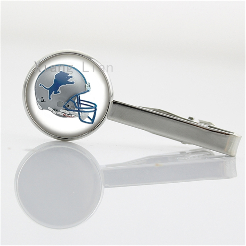 Elegant silver color rugby team logo helmet tie bar clips case for Detroit Lions american Football team tie clamp pin gift NF107(China (Mainland))