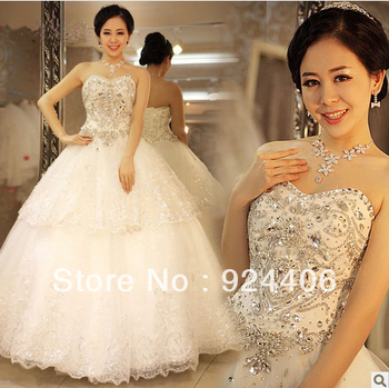 Free shipping,Customize,Wedding dress,Wedding gown.Ball Gown,Sweetheart,Anke length,Rhinestone,Beaded,Flower,Net/Tulle,Taffeta
