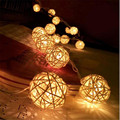 1 5M LED Rattan 10 Balls LED String Light Fairy Lanterns Wedding Outdoor Decor