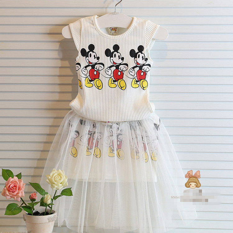 child garment summer girls dress baby girls clothes fashion children clothing set,cartoon mickey clothing sets kids clothes 2-7Y(China (Mainland))