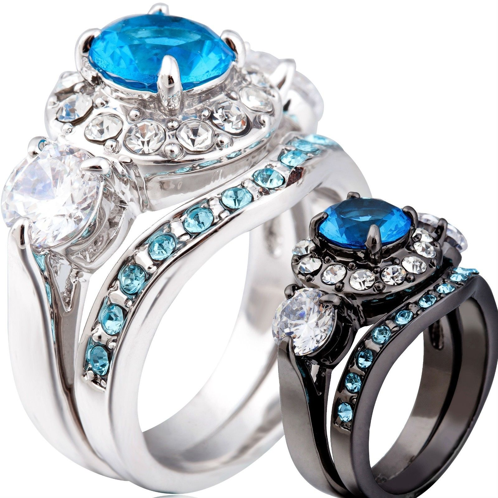 Size 5 6 7 8 9 10 11 Silver Black Rhodium Blue Sapphire Wedding Engagement Ri