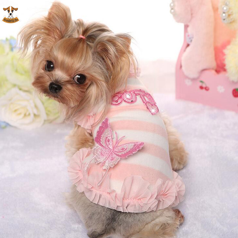 Newest Pet Dog Clothes Lovely Butterfly Hoodies Small Dogs Jacket Stripe Clothing Winter Warm Padded Thick Vest for Chihuahua