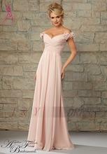 2015 New Arrival Pleat A-Line Flowers Long Bridesmaid Dresses Sleeveless Chiffon Dresses Wedding Bridesmaid Customized(China (Mainland))