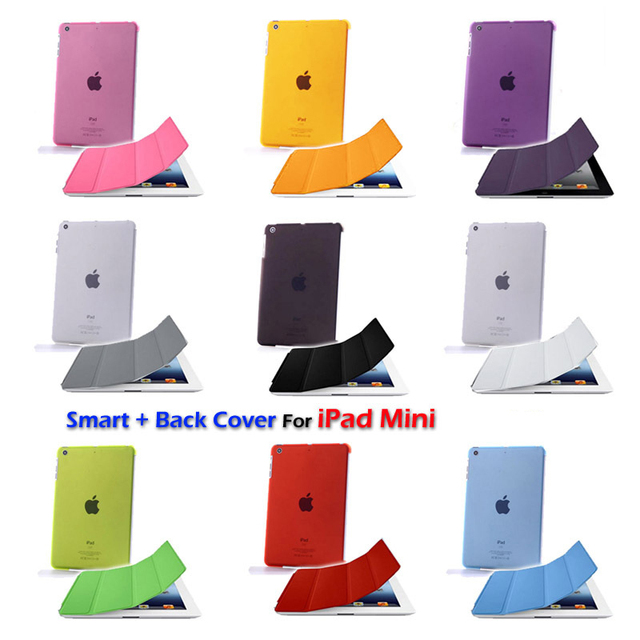 Free shipping Hard Back Cover + Sleep / Wake Magnetic Smart Cover Case for iPad Mini