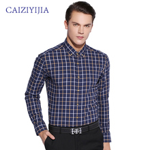 CAIZIYIJIA 2016 Mens Contrast Plaid Shirt Long-sleeve Square Collar Button-Down 100% Cotton Casual Slim Fit Men Shirts(China (Mainland))