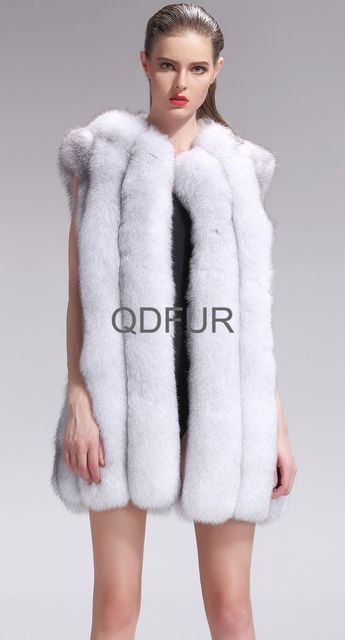 Luxurious Women Whole-hide Silver Fox Fur Vest  White Winter Warm Waistcoat Female Gilet Free Shipping QD27580A