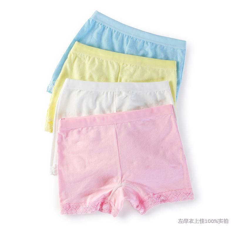 Kids Underwear Girls Lace Cotton Boxer Child Safety Panties Underpants Pink White Yellow Panties Next Calcinha