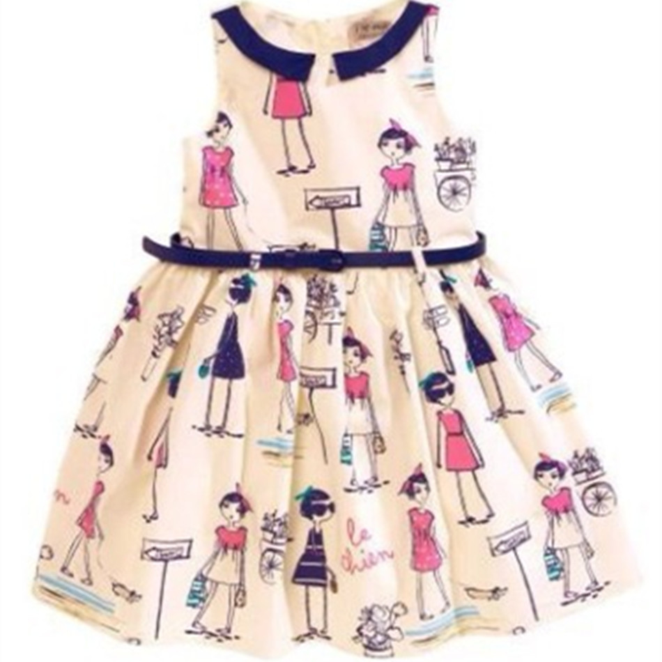 Hot Sale 2016 Girl Dress People Flower Printed Personalized Princess Dresses New children Clothing Cartoon Top French wind belt(China (Mainland))