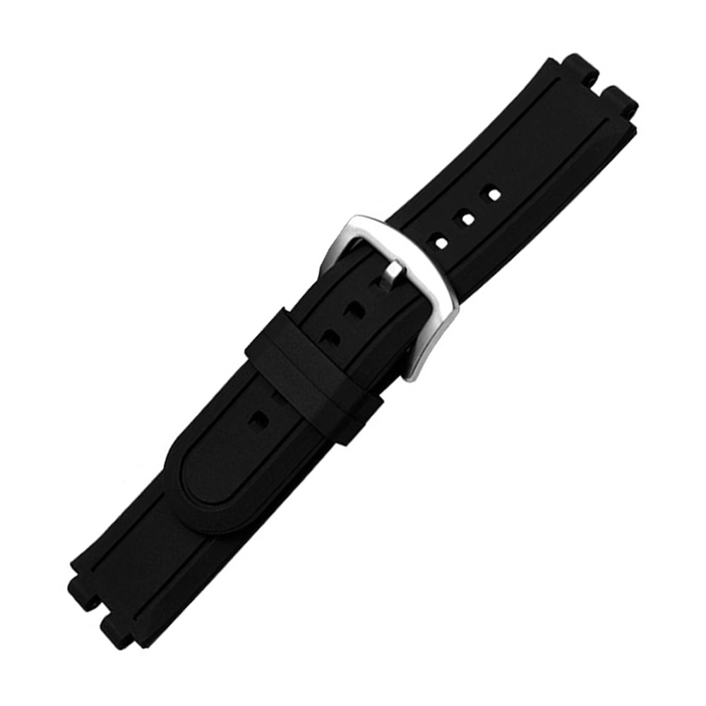 22mm Silicone Rubber Watchband for Pebble Steel 2 Smart Watch Band Replacement Strap Resin Bracelet with Tool & Spring Bar Black