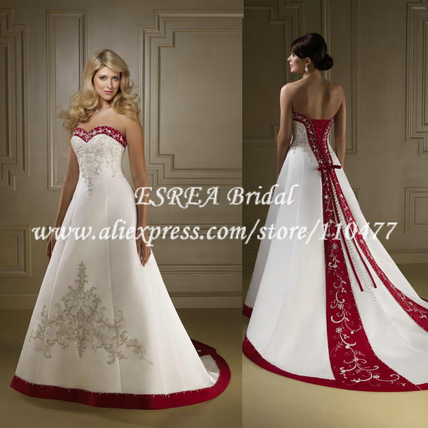 White with red wedding dresses