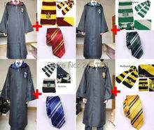 Harry Potter Gryffindor/Slytherin/Hufflepuff/Ravenclaw Cloak Robe/Scarf/Tie Set HALLOWEEN