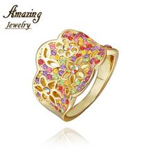 R285 WholesaleHigh QualityNickle Free AntiallergicNew Fashion Jewelry 18K Real Gold PlatedRing For Women Free Shipping