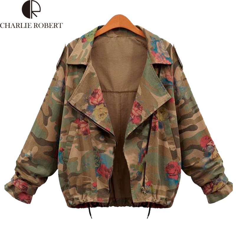 2016 New Fashion Vintage Army Green Camouflage Jacket Long Sleeve Denim Jackets Zipper Flower Print Coats Autumn Winter Clothing(China (Mainland))