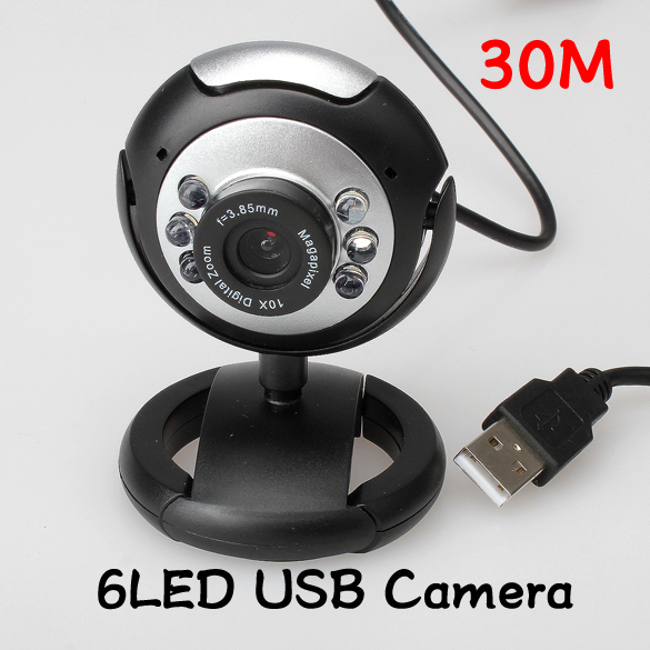 8.0 Mega 30 M USB 6 LED Webcam Web Cam Camera Laptop Computer With Mic New ST1#(China (Mainland))