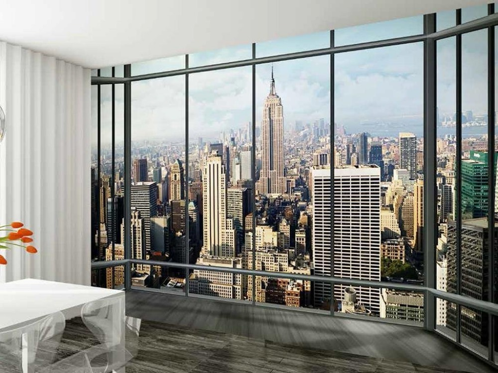 3d new york skyline window view wallpaper photo wall mural for City view wallpaper mural