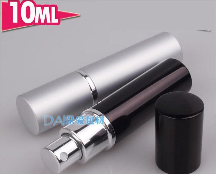 100pcs 10ml Black/silver Perfume Bottle ,Travel Atomizer Aluminum Perfume Bottles ,Refillable Pump Small Portable Bottle(China (Mainland))