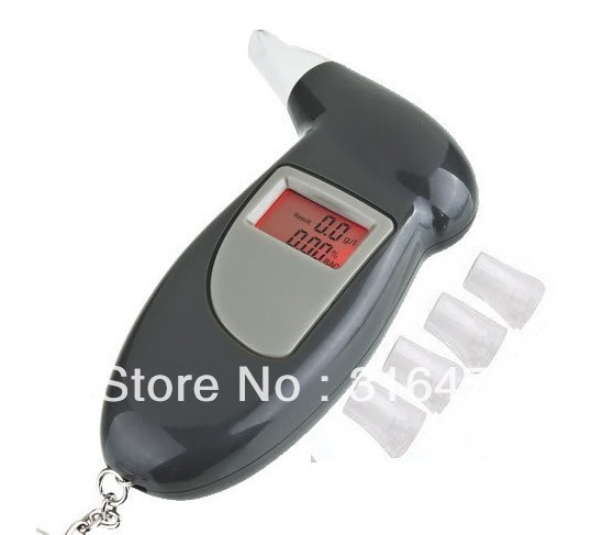 Free Shipping, keychain Alcohol Tester Breathalyzer Alcohol Detector with red Backlight LCD display & 5 Mouthpieces