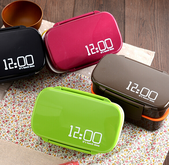 12:00 lunch time Bento Box Japanese Style Double Tier Bento Lunch Box Large Meal Box Tableware Easy-Open Microwave 1410ml EM0087(China (Mainland))