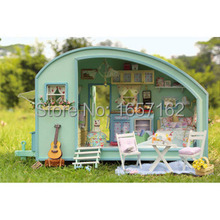 Time travel DIY Doll house 3D Miniature Wooden assembled+Music box+Voice-activated light Handmade kits Building model Caravan(China (Mainland))