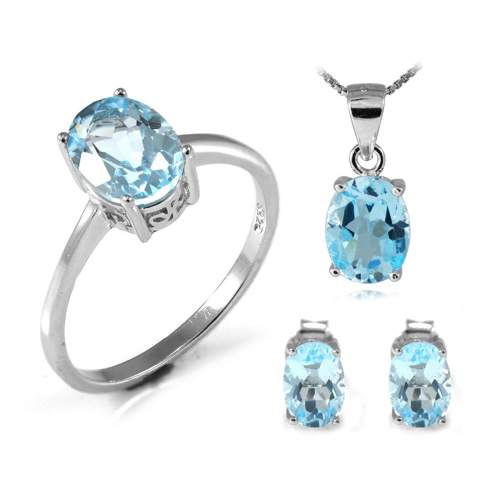5.6ct Natrual Blue Topaz Ring Earrings Pendant Necklace Jewelry Set 925 Solid Sterling Silver Jewelry Oval Gemstone 2015 Brand(China (Mainland))