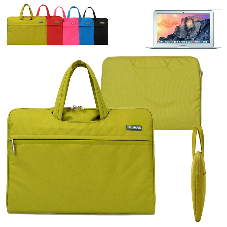 Canvas Fabric Laptop Sleeve Briefcase Carrying Case Bag w/ Pocket & Handle for Apple Macbook Air/ Pro 11 12 13 15 inch Retina(China (Mainland))