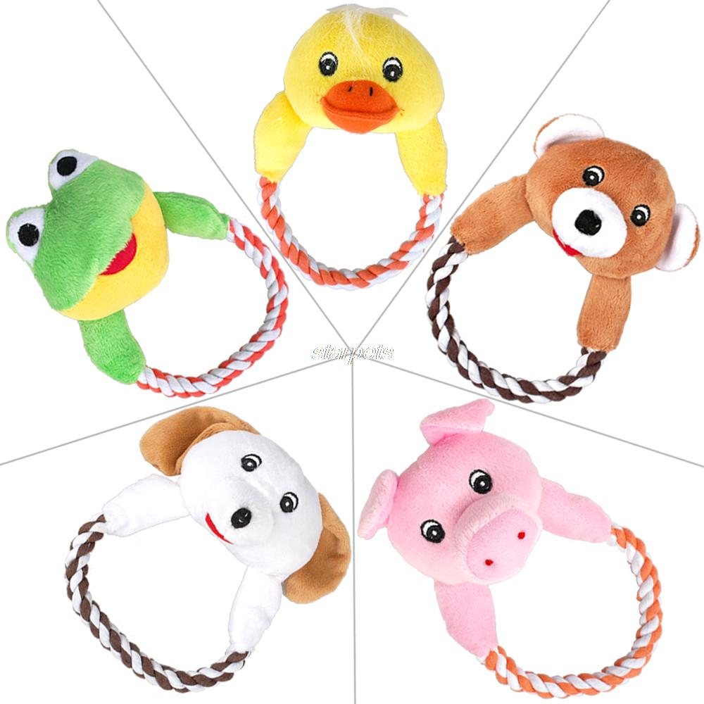 4 Styles Animal Pet Plush Cotton Braided Lead Dog Squeaker Toy For Small Puppy(China (Mainla